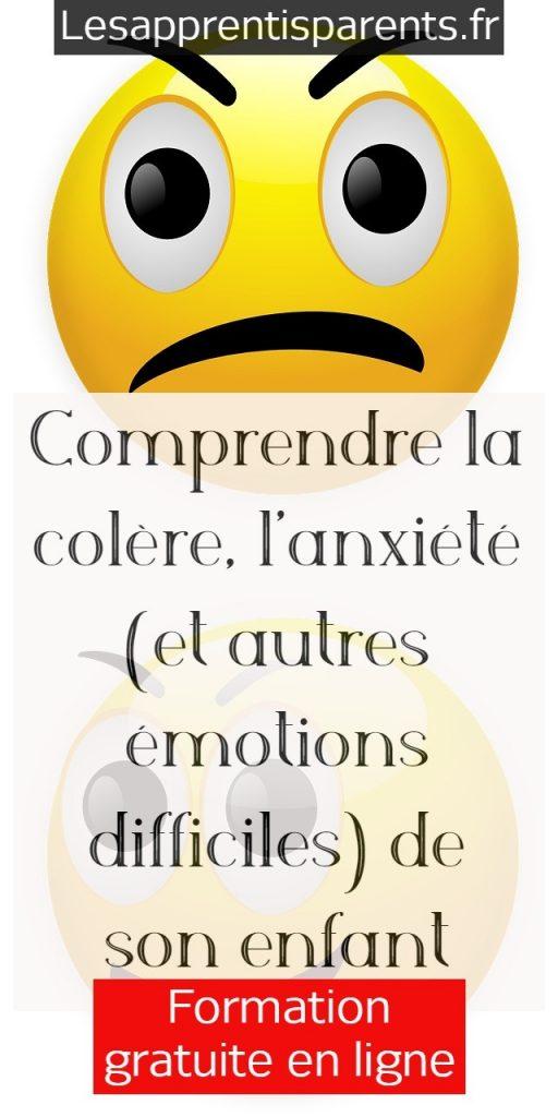 Formation gratuite - comprendre la colère, l'anxiété et autres émotions difficiles de son enfant